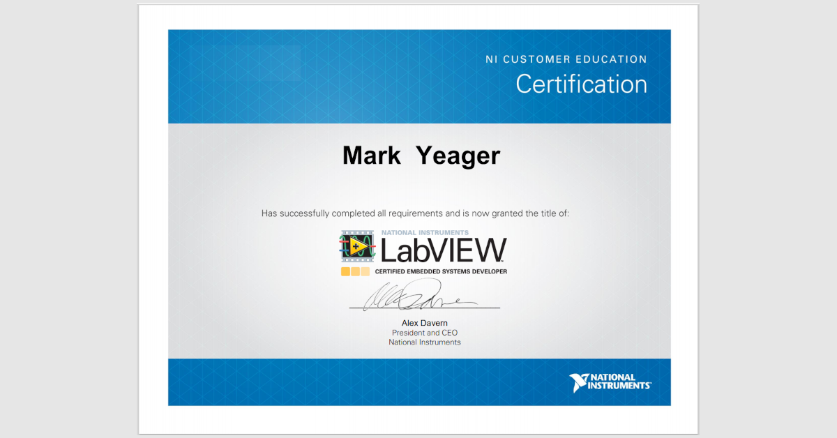 Mark Yeager LabVIEW CLED Certificate