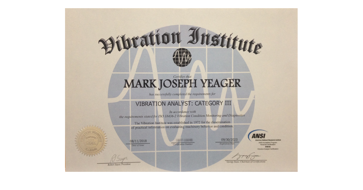 Mark Yeager category 3 vibration analyst