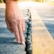 Cracked asphalt road surface