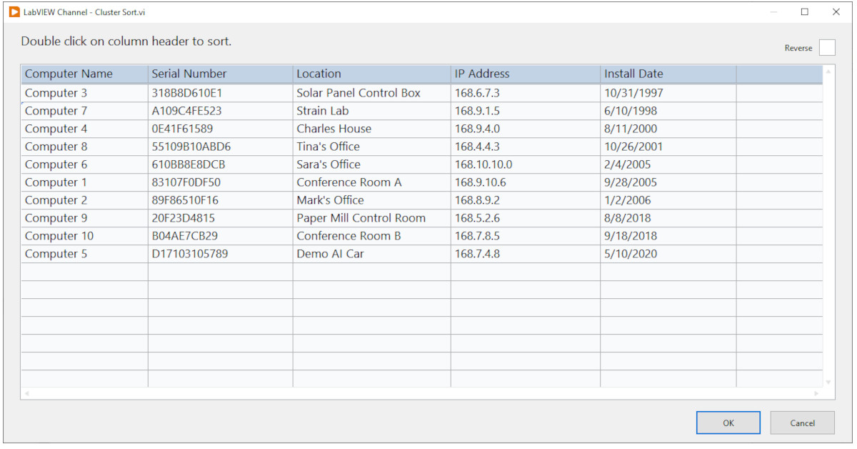 LabVIEW NXG Table